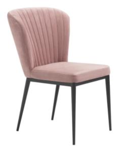 Modern black metal legs blush pink velvet cafe chair