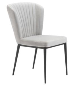 Black metal legs gray velvet dining chair