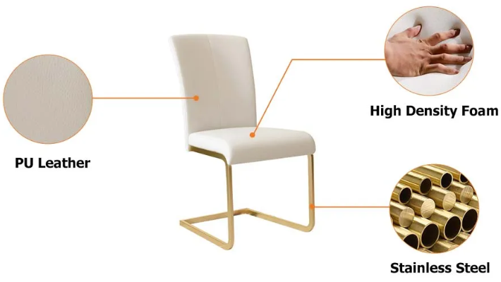 Gold metal base white PU leather upholstered dining chair