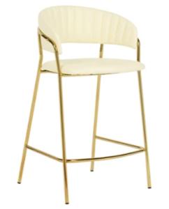 Gold plated metal frame velvet counter height barstool