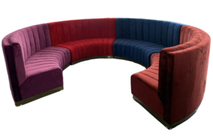 Sectional lounge sofa curved velvet gold base booth seating