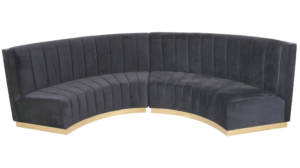 Lobby velvet sofa curved booth seating for hotel
