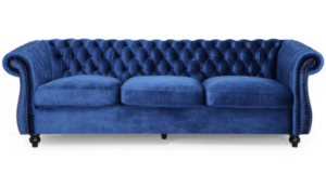 Chesterfield Tufted Jewel Toned Velvet Sofa with Scroll Arms