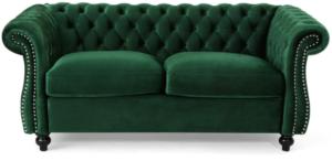 Chesterfield Loveseat Sofa Emerald Green velvet wooden legs