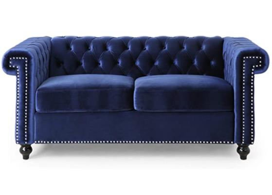Navy blue velvet tufted love seat