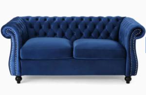 Navy Blue velvet Chesterfield Loveseat Sofa