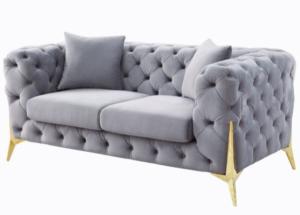 Wholesale Grey Tufted Velvet Gold Legs Loveseat