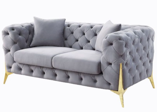 Grey Tufted Velvet Gold Legs Sofa Chair