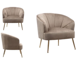 Channel Tufted Taupe Velvet Accent Chair