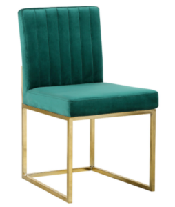 Modern gold base channel tufed green velvet dining chair