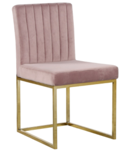 Modern gold base channel tufted pink velvet dining chair