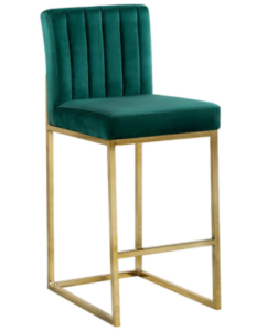 Modern gold base channel tufted green velvet counter stool