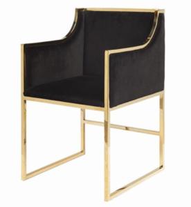 Black velvet brass gold frame modern dining chair