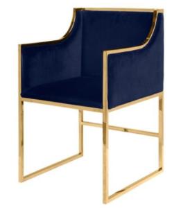 Brass gold frame navy blue velvet dining chair