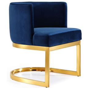 Polished gold metal frame velvet upholstered dining chair