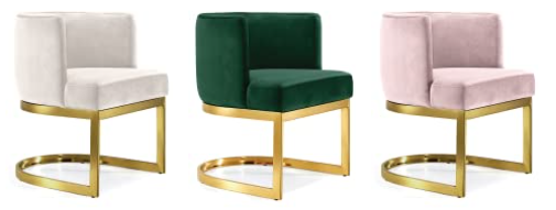 Polished gold frame emerald green velvet upholstered dining chair