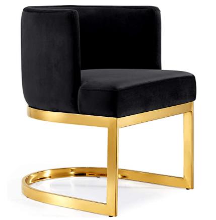 Polished gold metal frame black velvet upholstered modern dining chair