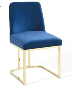 Brass gold base navy blue velvet upholstered dining chair