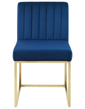 Gold base channel tufted navy blue velvet dining chair