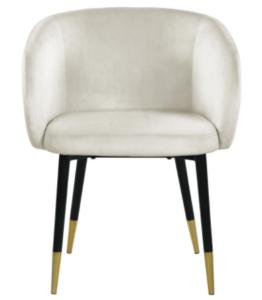 Black metal legs cream velvet dining chair