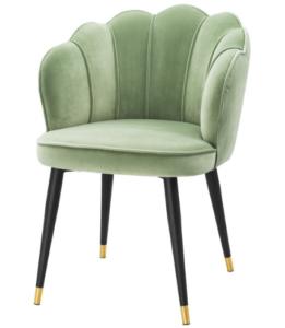 Modern design black metal legs green velvet dining chair