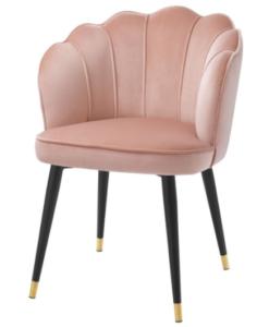 Black metal legs blush pink velvet modern dining chair