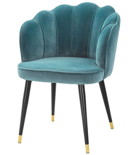 Black metal legs blue velvet modern dining chair