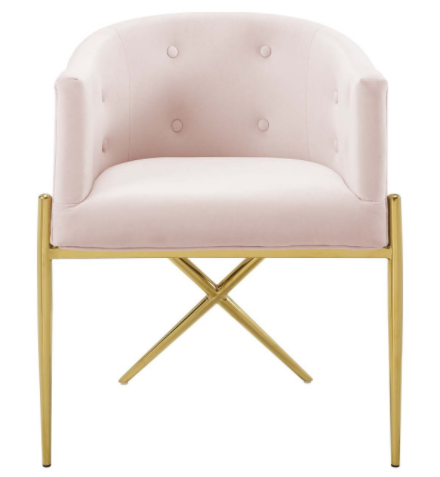 Tufted Blush Pink Velvet Accent Dining Armchair