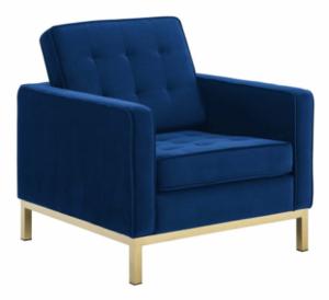 Gold stainless steel legs blue velvet sofa chair