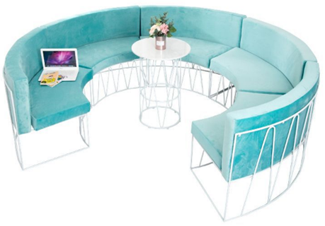 5pcs metal base upholstered selectional lounge sofa for wedding