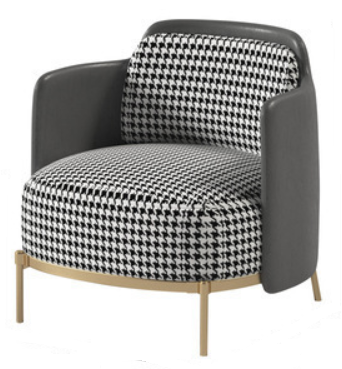 Gold plated base upholstered lounge chair