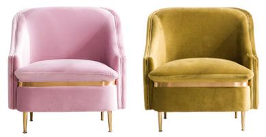 Gold legs peacock velvet upholstered single sofa