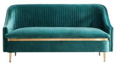 Gold legs peacock blue velvet upholstered loveseat sofa