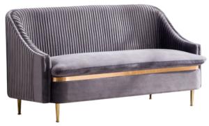 Gold legs taupe velvet upholstered loveseat sofa