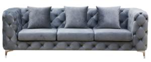 Gold stainless steel legs tufted button gray velvet 3 seater sofa