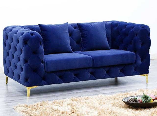 Gold stainless steel legs tufted button velvet loveseat sofa