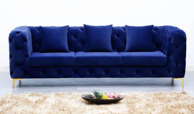 Gold stainless steel legs tufted button velvet 3 seater sofa