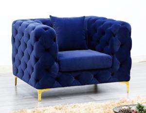 Modern stainless steel legs tufted button velvet lounge sofa