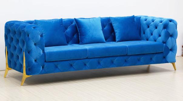 Gold Legs Tufted Red Velvet 3 Seater Sofa