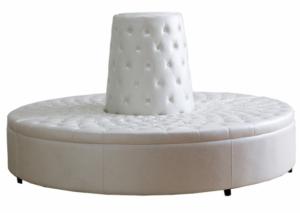 White PU leather silver metal base Donut ottoman lounge sofa