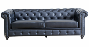 Black PU leather Chesterfield 3 Seater Sofa