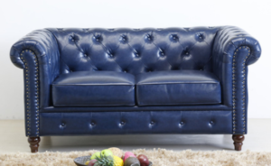 Navy blue PU leather Chesterfield Loveseat Sofa