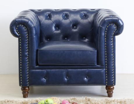 Navy blue PU leather Chesterfield Single Sofa