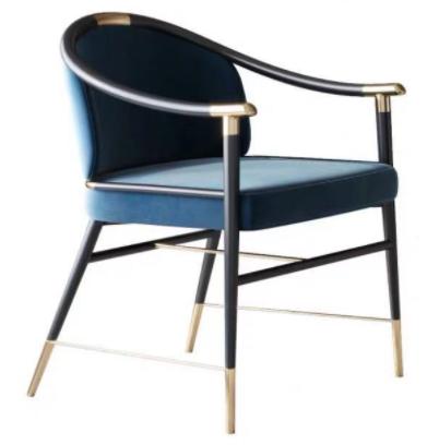 Modern design metal legs blue velvet armchair