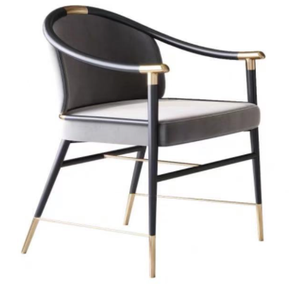 Modern design metal legs gray velvet armchair