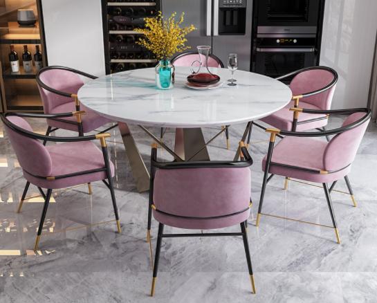 Modern design metal legs blush pink velvet armchair