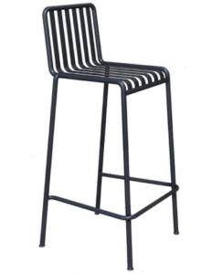 Black aluminum outdoor garden bar chair