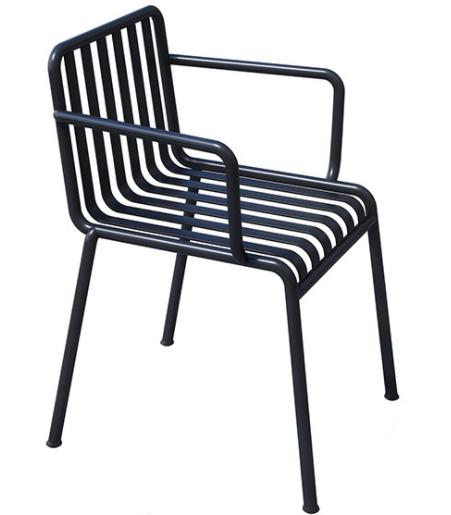 Black aluminum stacking outdoor cafe armchair