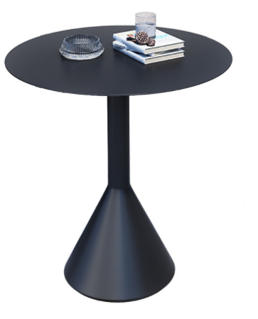 Black aluminum outdoor garden round cafe table