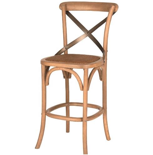 Natural oak rattan seat cross back barstool